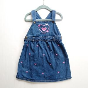 Other - Toddler girls 4t overall denim jumper, hearts